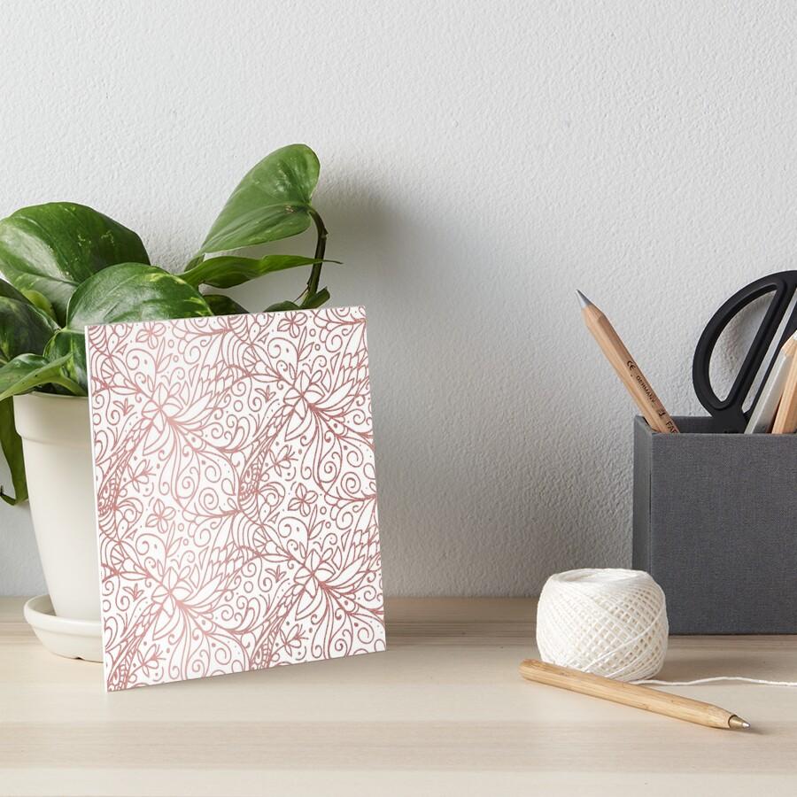 Rose Gold Shimmer Floral Art Board Print