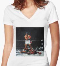 Muhammad Ali Knocks Out Sonny Liston Women's Fitted V-Neck T-Shirt