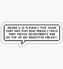 "woozi's ""adore u"" description Sticker"