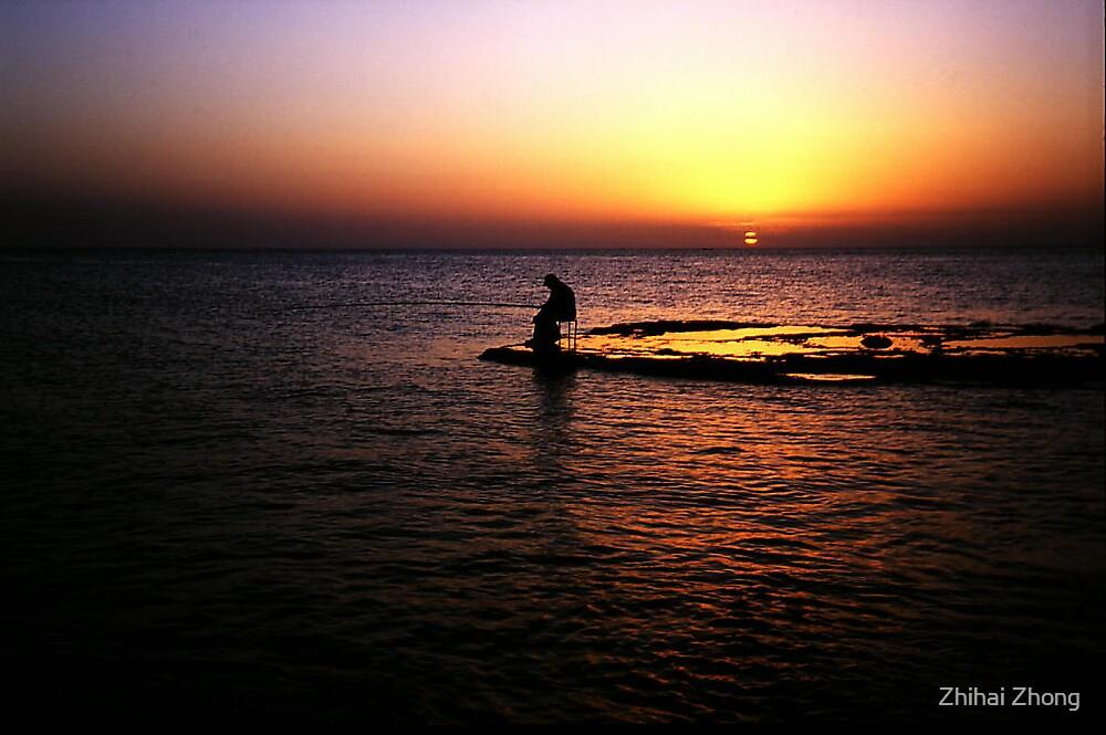Fishing......Solitude......Before Sunset by Zhihai Zhong