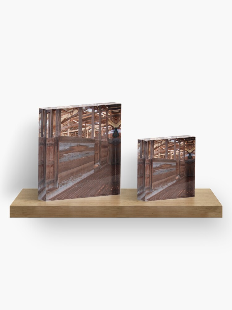 Alternate view of Shearing shed - holding pen Acrylic Block