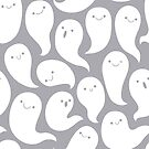 Friendly Ghosts (Light Grey) by KristyKate