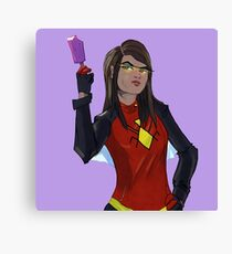 SpiderWoman eating a Popsicle Canvas Print