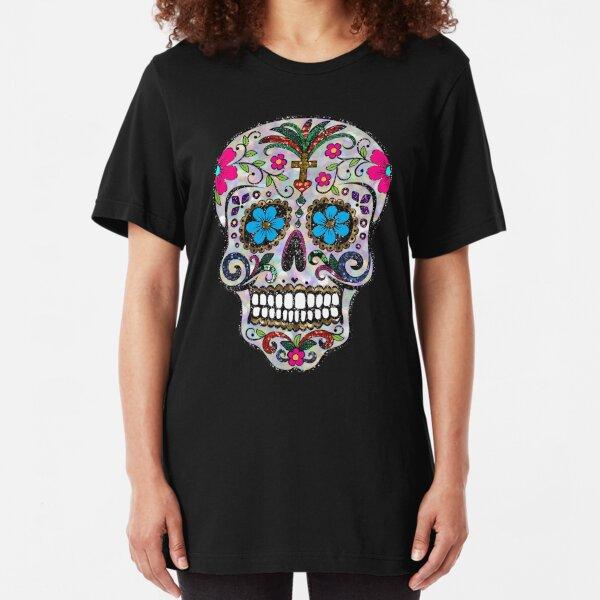 sequin print Sugar Skulls Slim Fit T-Shirt