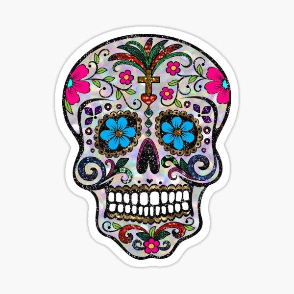 sequin print Sugar Skulls Sticker
