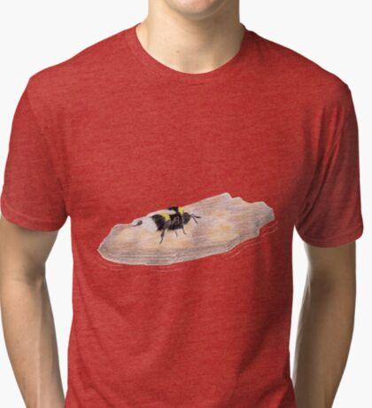 Bumblebee on a piece of bark Tri-blend T-Shirt
