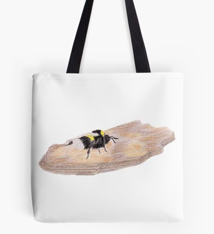 Bumblebee on a piece of bark Tote Bag