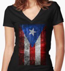 Bandera de Puerto Rico Women's Fitted V-Neck T-Shirt