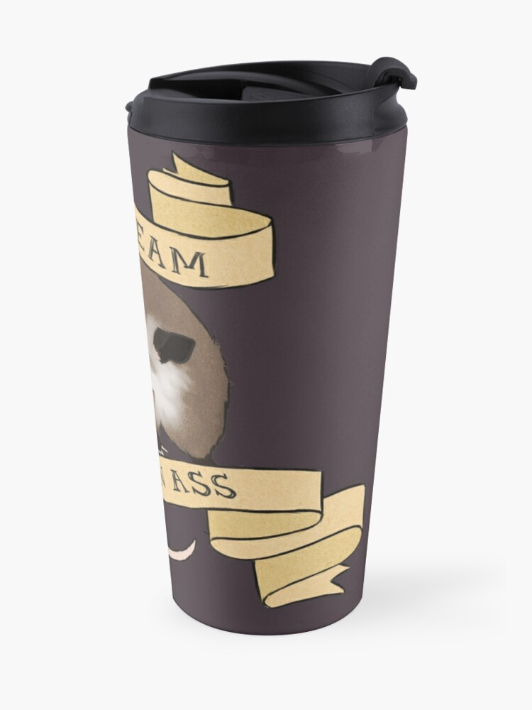 Alternate view of He Scream at Own Ass Travel Mug