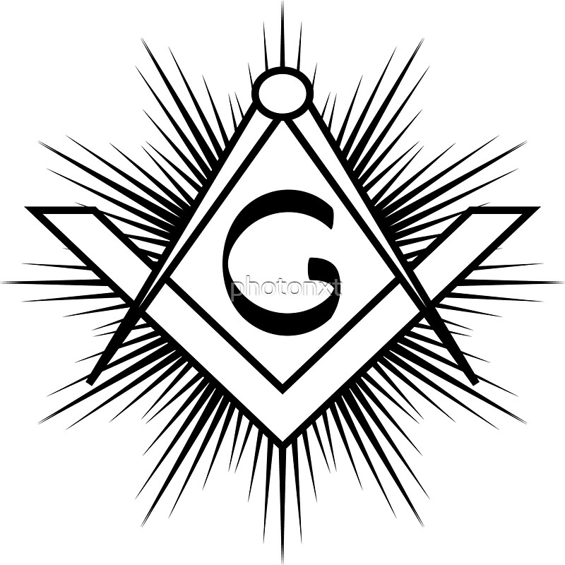 Masonic Symbol Of Square And Compass With Rays And G Letter