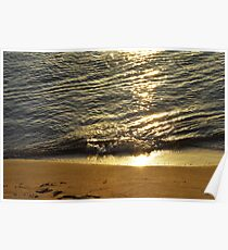 The sea shore at sunset  Poster