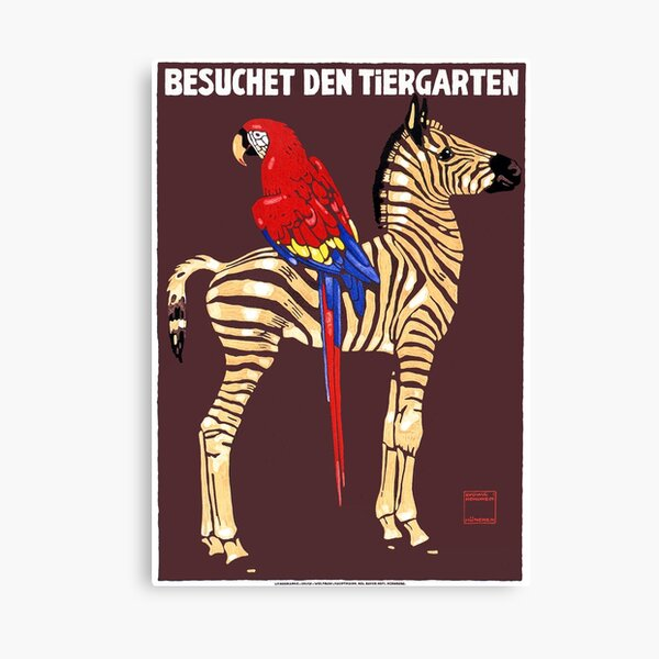 1912 Ludwig Hohlwein Visit The Zoo Zebra Macaw Poster Canvas Print