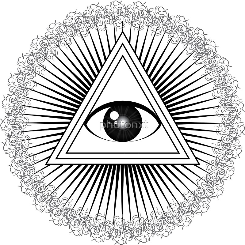 All Seeing Eye With Rays Of Light And Delta Symbol Stickers By