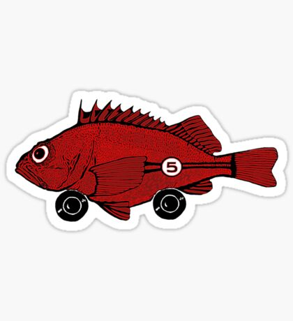 Racing fish - red on black Sticker