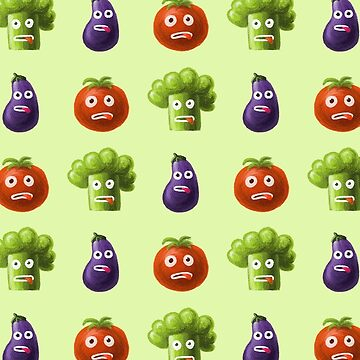 Tomato Broccoli and Eggplant Funny Cartoon Vegetables Pattern by azzza