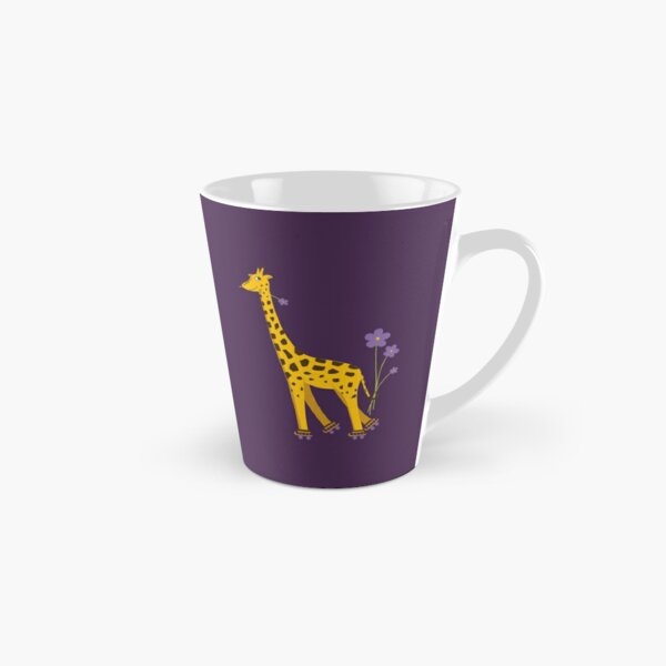 Purple Cartoon Funny Giraffe Roller Skating Tall Mug