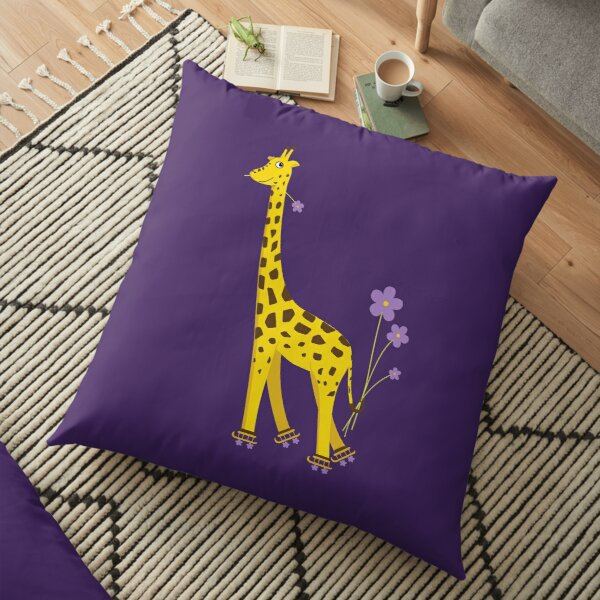 Purple Cartoon Funny Giraffe Roller Skating Floor Pillow