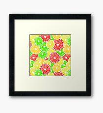 Lemon, orange, grapefruit and lime slices pattern design Framed Print