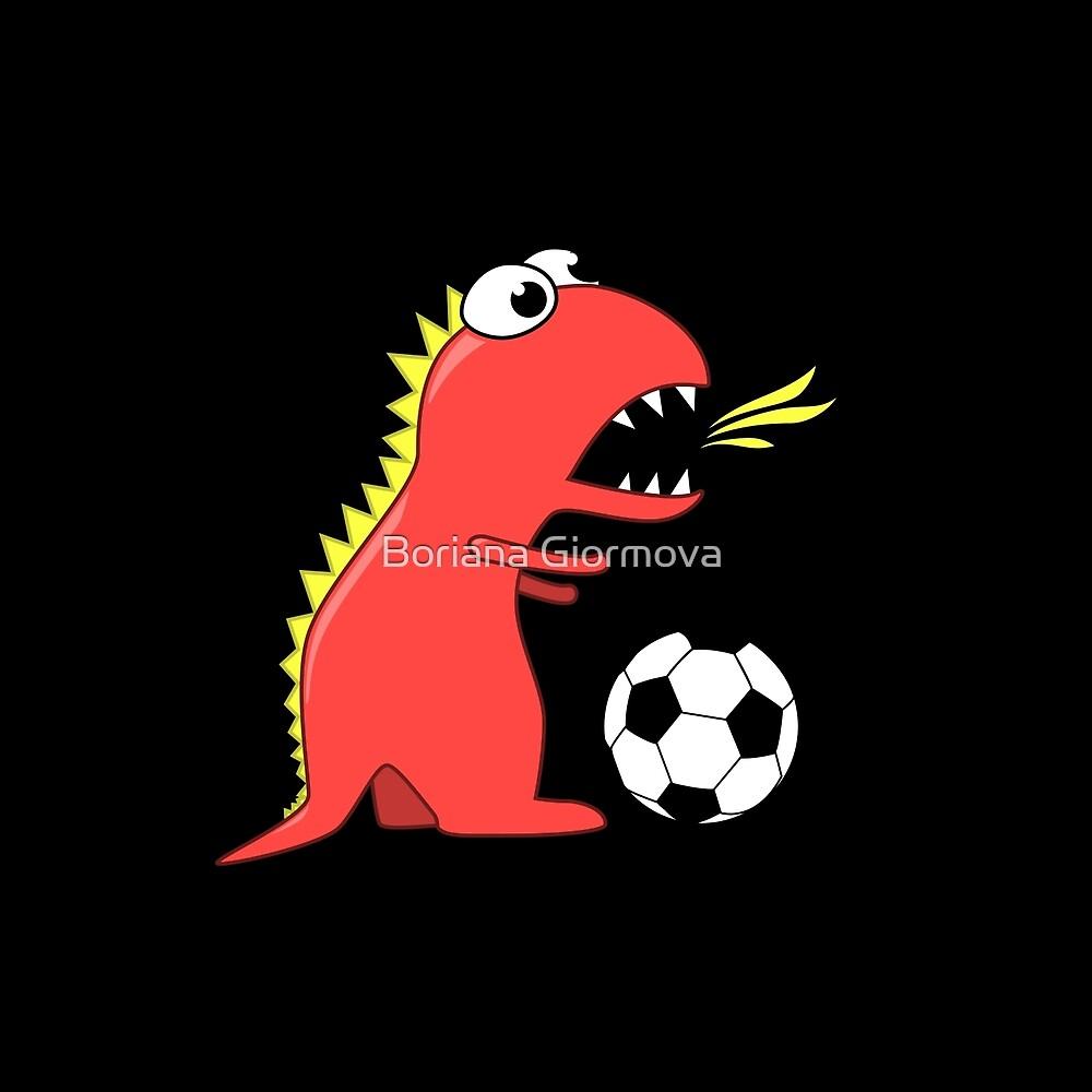 Black Funny Cartoon Dinosaur Soccer by Boriana Giormova