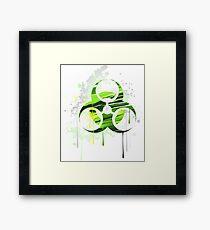 Symbol of biological danger drawn with paint Framed Print