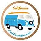 Colorful camper-van illustration with peace signs, surfboard und the handwritten words California - Find the perfect wave by schtroumpf2510