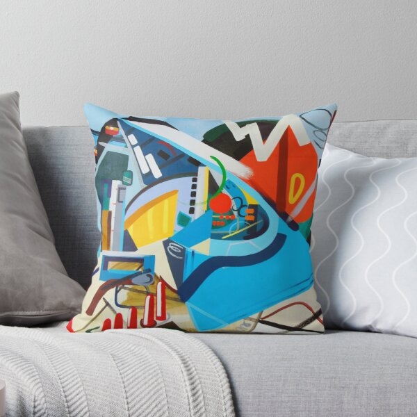 Abstract  Blue and Orange Art Print Throw Pillow