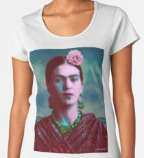 Frida Kahlo with Mountains - Color (Ver 8.5) Women's Premium T-Shirt