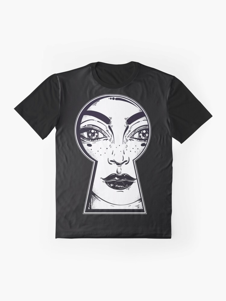 Alternate view of Starry Eye Girl Looking Through Keyhole Graphic T-Shirt