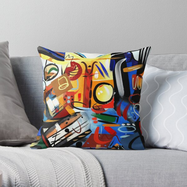 Abstract Interior Blue and Orange Art Print Throw Pillow