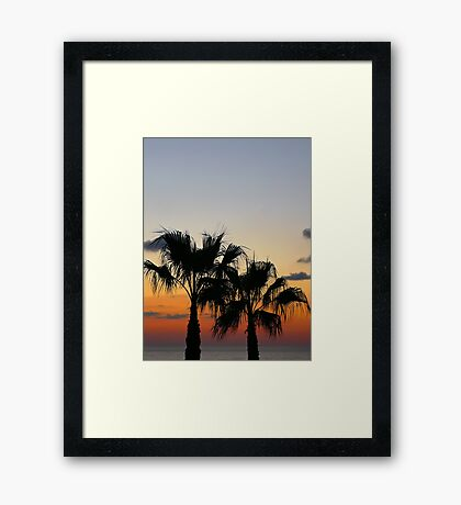 Sunset with palms... Framed Print