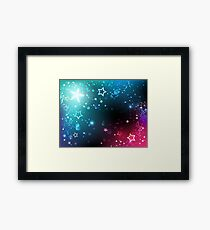Bright space background with stars. Framed Print