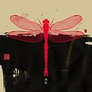 Big Dragonfly In Red And Black by Thoth Adan
