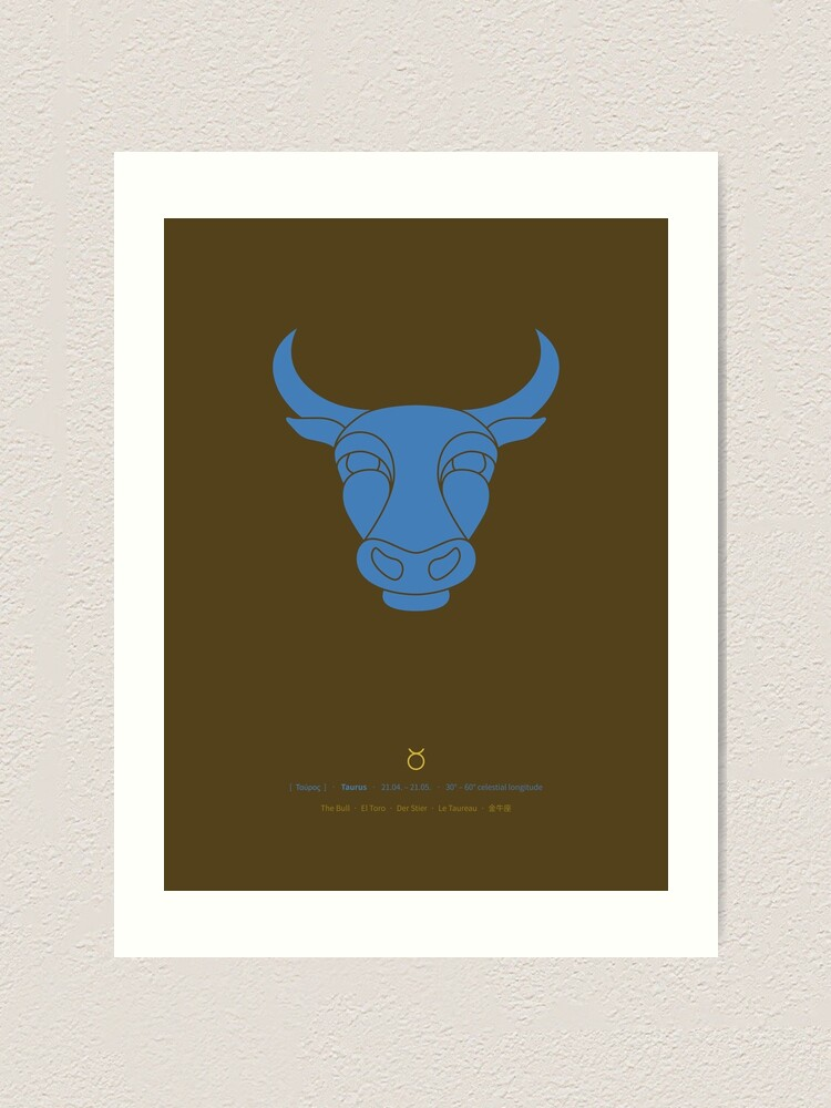 Alternate view of Taurus Zodiac / Bull Star Sign Poster Art Print