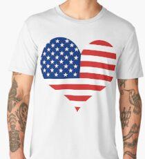 American Flag Patriotic Heart Men's Premium T-Shirt