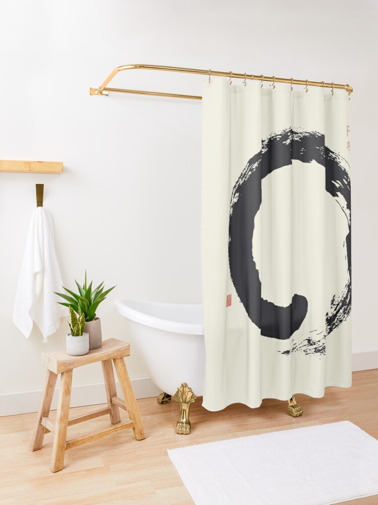 Alternate view of Ensō / Japanese Zen Circle Shower Curtain