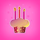 Happy Birthday! Birthday Cake Illustration on Pink Background by Shelly Still