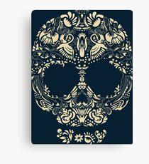 Floral human skull vector. Decorative beautiful design. Bird accents Canvas Print