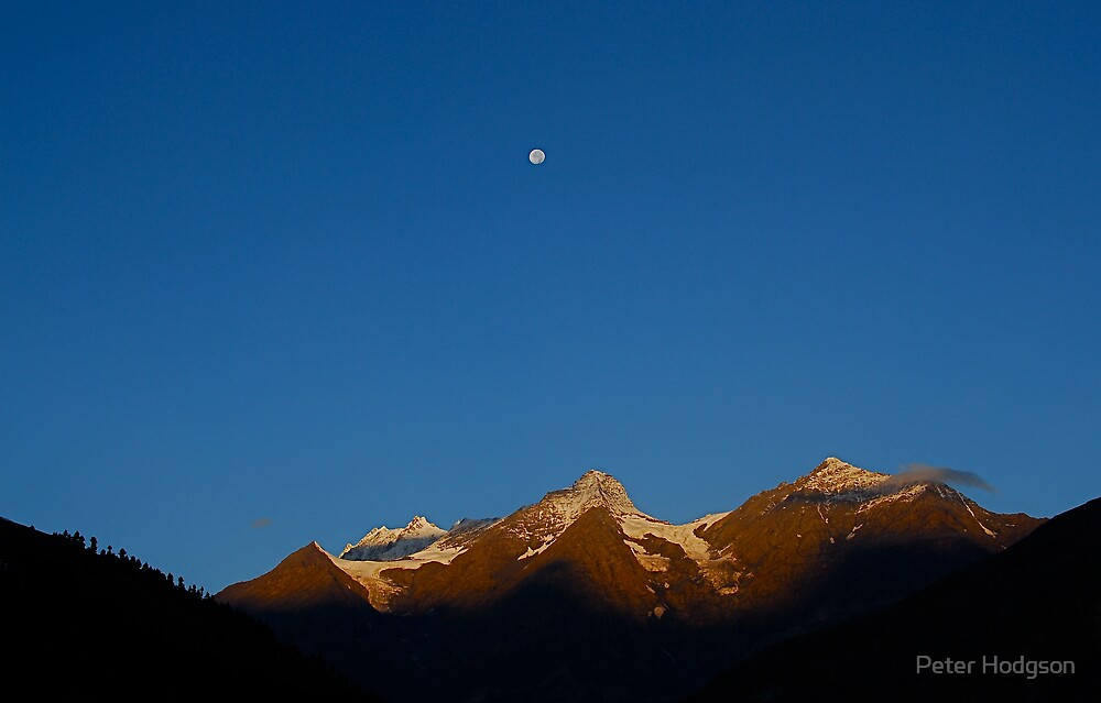 Moon over the mountains. by Peter Hodgson