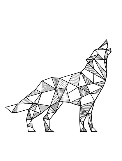 """Howling Wolf Geometric"" Posters by alcateiaart 