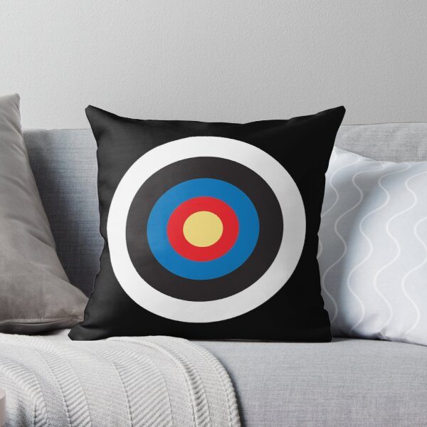 Bulls Eye. Target, MOD, Roundel, en NEGRO. Cojín