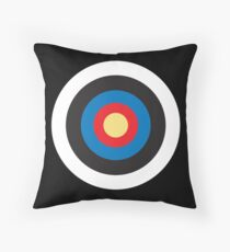 Bulls Eye, Target, MOD, Roundel, on BLACK Throw Pillow