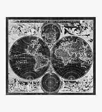 Black and White World Map (1685) Inverse Photographic Print