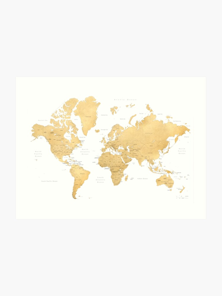 Gold world map with countries and states labelled\