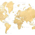 Gold world map with countries and states labelled by blursbyai