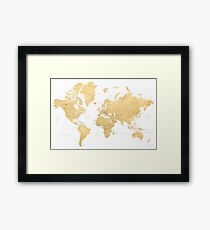 Gold-Weltkarte mit Ländern und Staaten beschriftet Gerahmtes Wandbild
