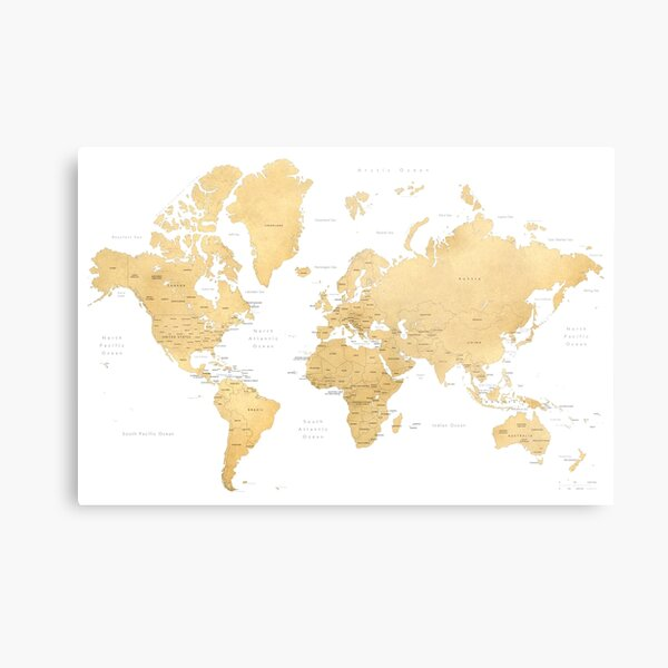 Gold world map with countries and states labelled Metal Print