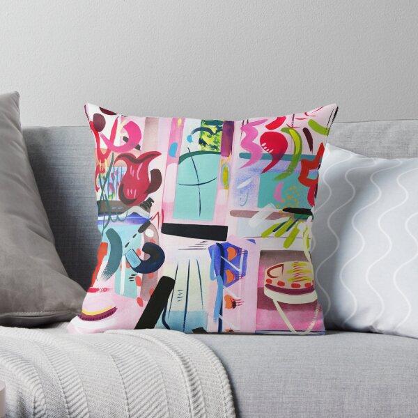 Pink Interior Abstract Art Print Throw Pillow
