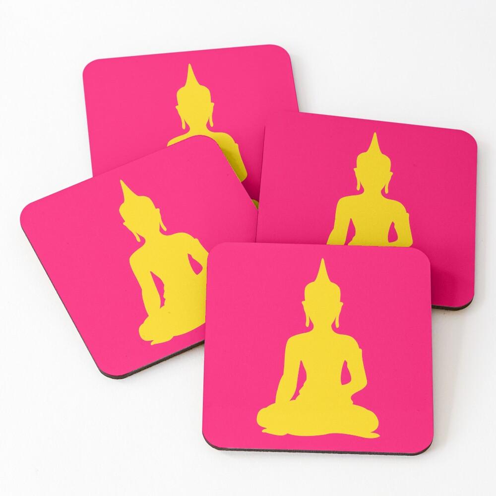 Neon Buddha Coasters (Set of 4)