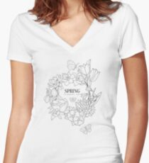 Wrath Of Spring Flowers Hand Drawn Realistic Sketch Women's Fitted V-Neck T-Shirt