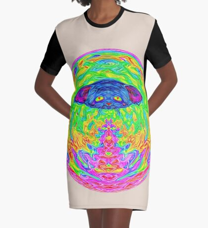 Unidentified Flying CatBat Graphic T-Shirt Dress